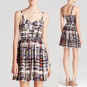 Amanda Uprichard Geometric Leopard Champagne Dress